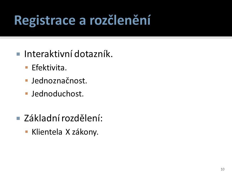 Registrace a rozčlenění