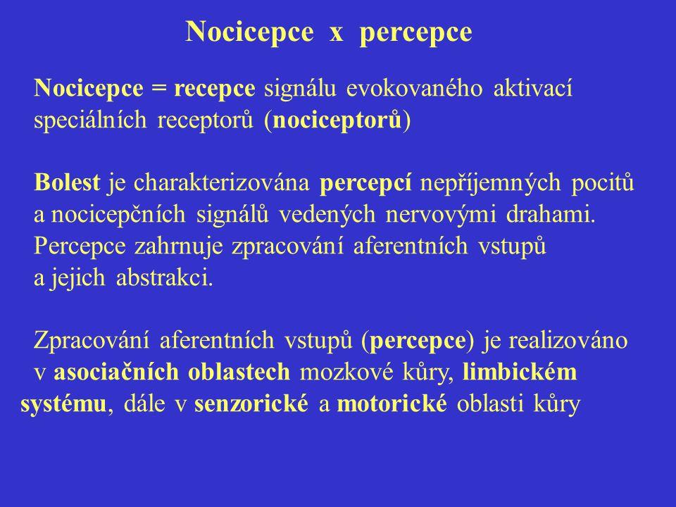 Nocicepce x percepce Nocicepce = recepce signálu evokovaného aktivací speciálních receptorů (nociceptorů)