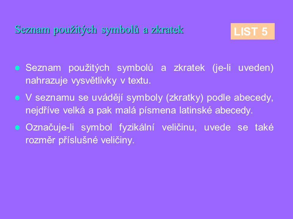 Seznam použitých symbolů a zkratek