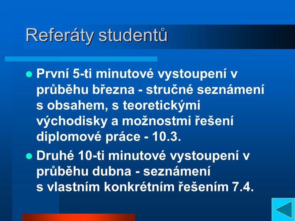 Referáty studentů
