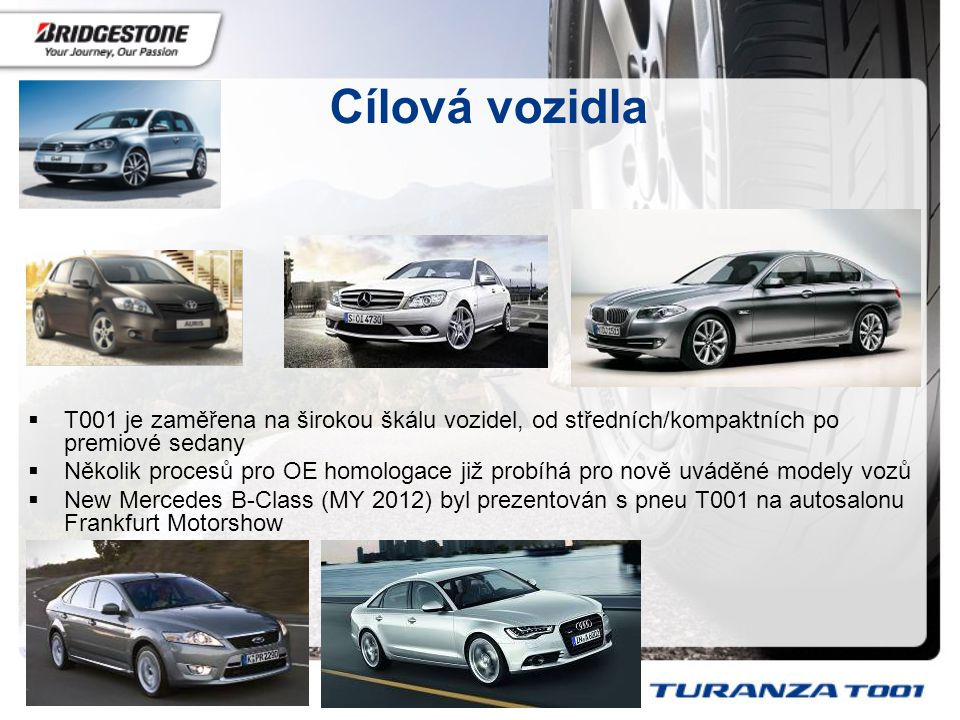 Cílová vozidla T001 je zaměřena na širokou škálu vozidel, od středních/kompaktních po premiové sedany.