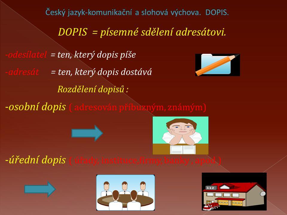 Český jazyk-komunikační a slohová výchova. DOPIS.