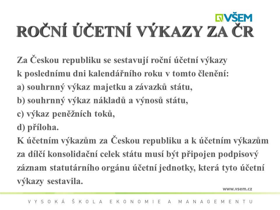 ROČNÍ ÚČETNÍ VÝKAZY ZA ČR