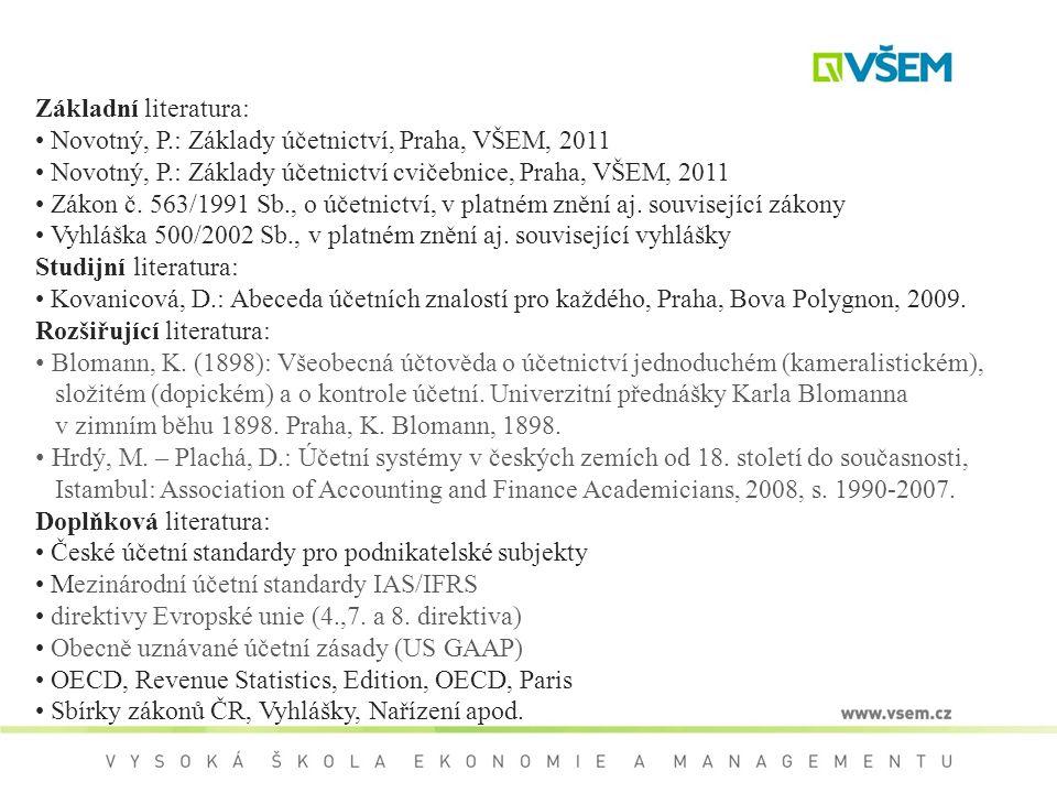 Základní literatura: Novotný, P.: Základy účetnictví, Praha, VŠEM, 2011. Novotný, P.: Základy účetnictví cvičebnice, Praha, VŠEM, 2011.