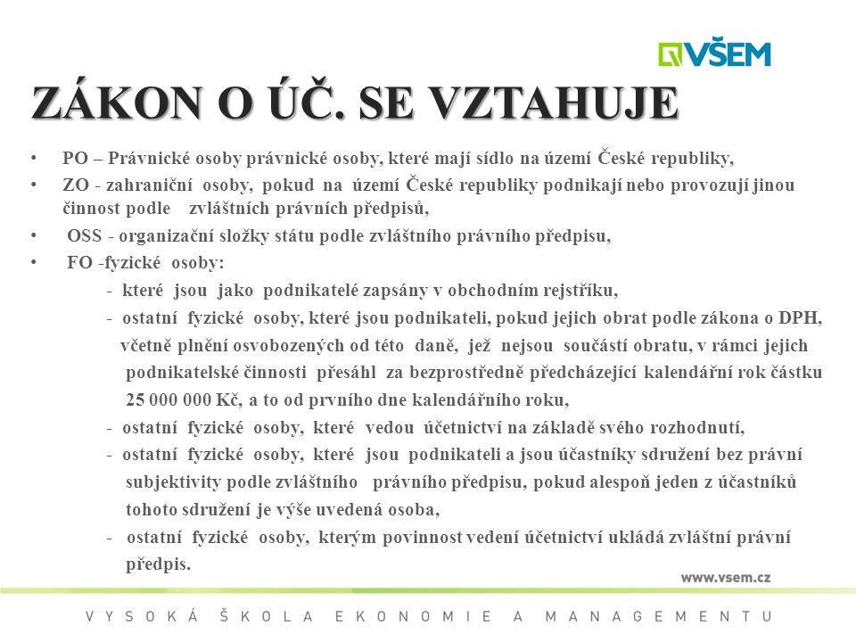 ZÁKON O ÚČ. SE VZTAHUJE PO – Právnické osoby právnické osoby, které mají sídlo na území České republiky,
