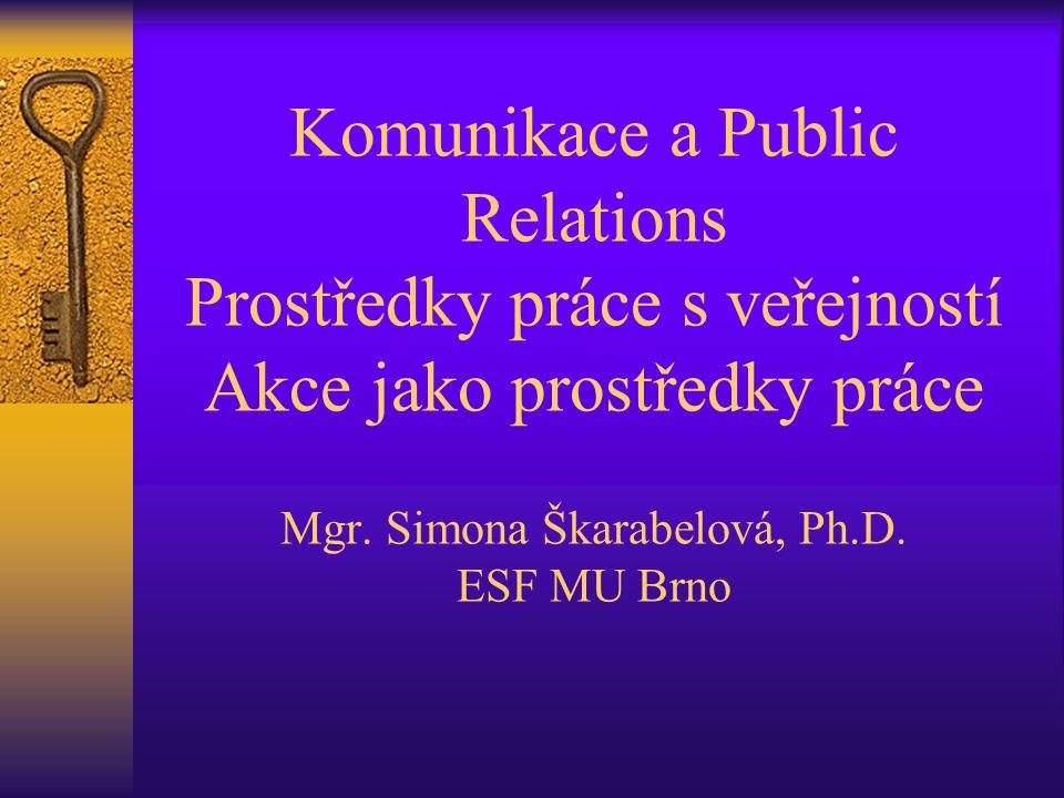 Komunikace a Public Relations Prostředky práce s veřejností Akce jako prostředky práce Mgr.