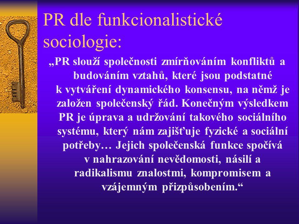 PR dle funkcionalistické sociologie: