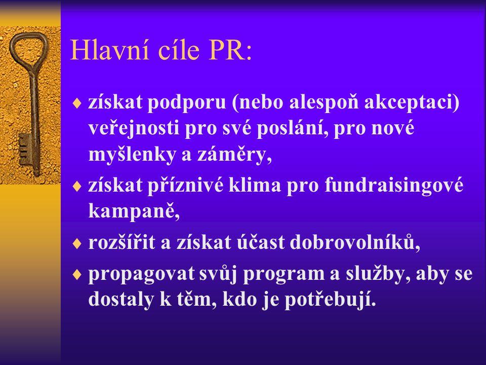 Hlavní cíle PR: získat podporu (nebo alespoň akceptaci) veřejnosti pro své poslání, pro nové myšlenky a záměry,