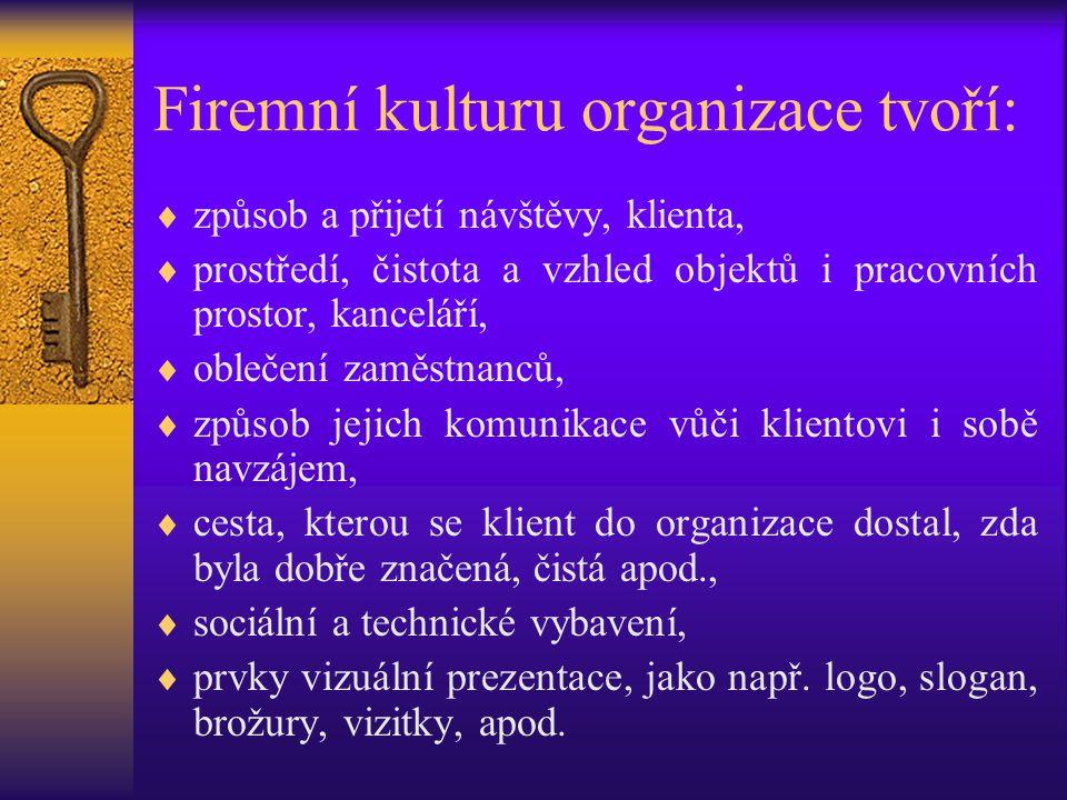 Firemní kulturu organizace tvoří: