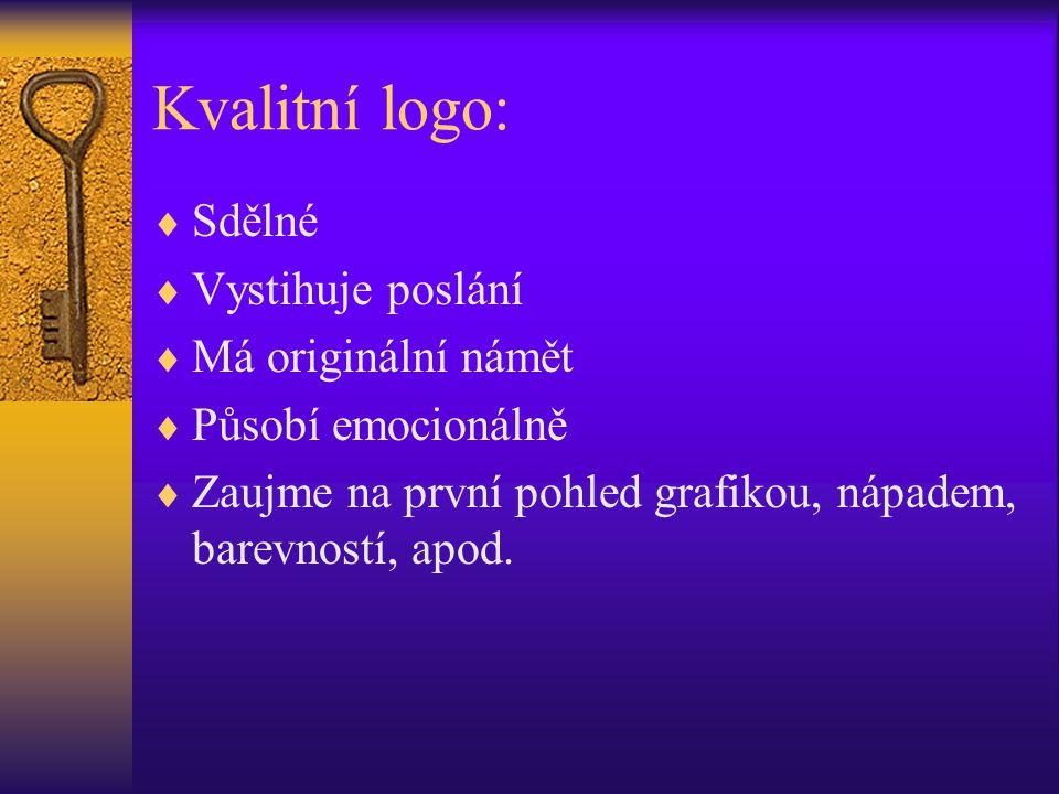 Kvalitní logo: Sdělné Vystihuje poslání Má originální námět