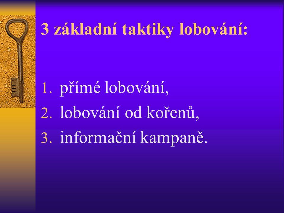 3 základní taktiky lobování: