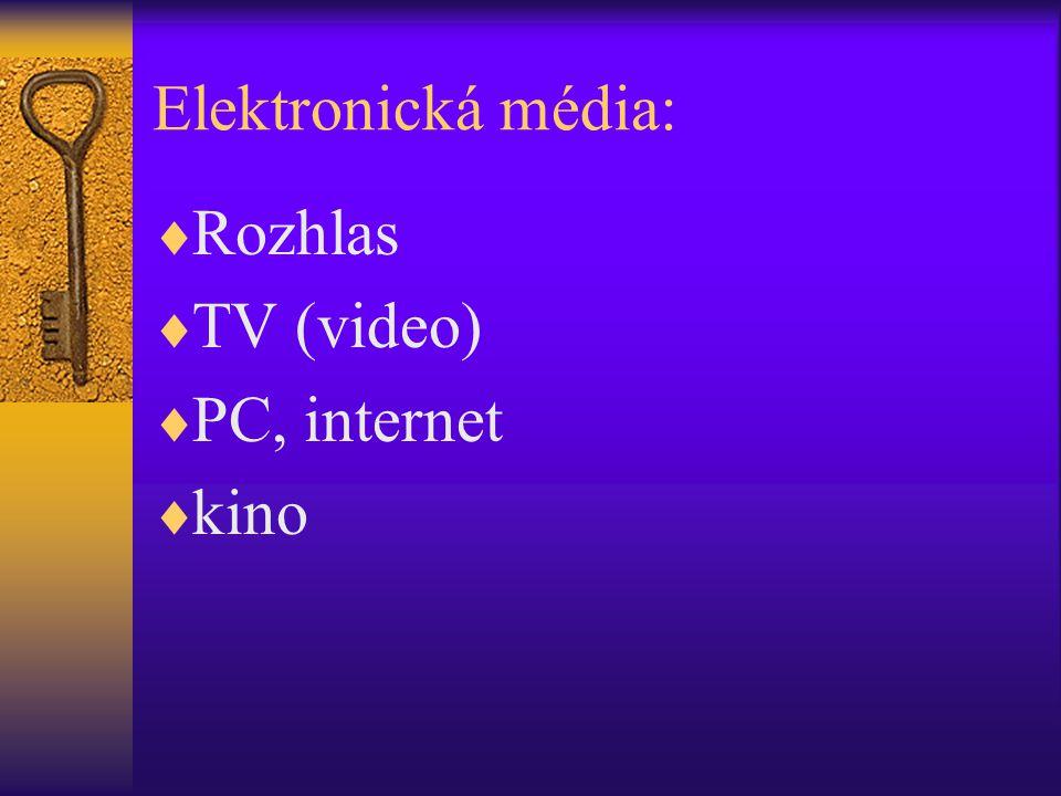 Elektronická média: Rozhlas TV (video) PC, internet kino