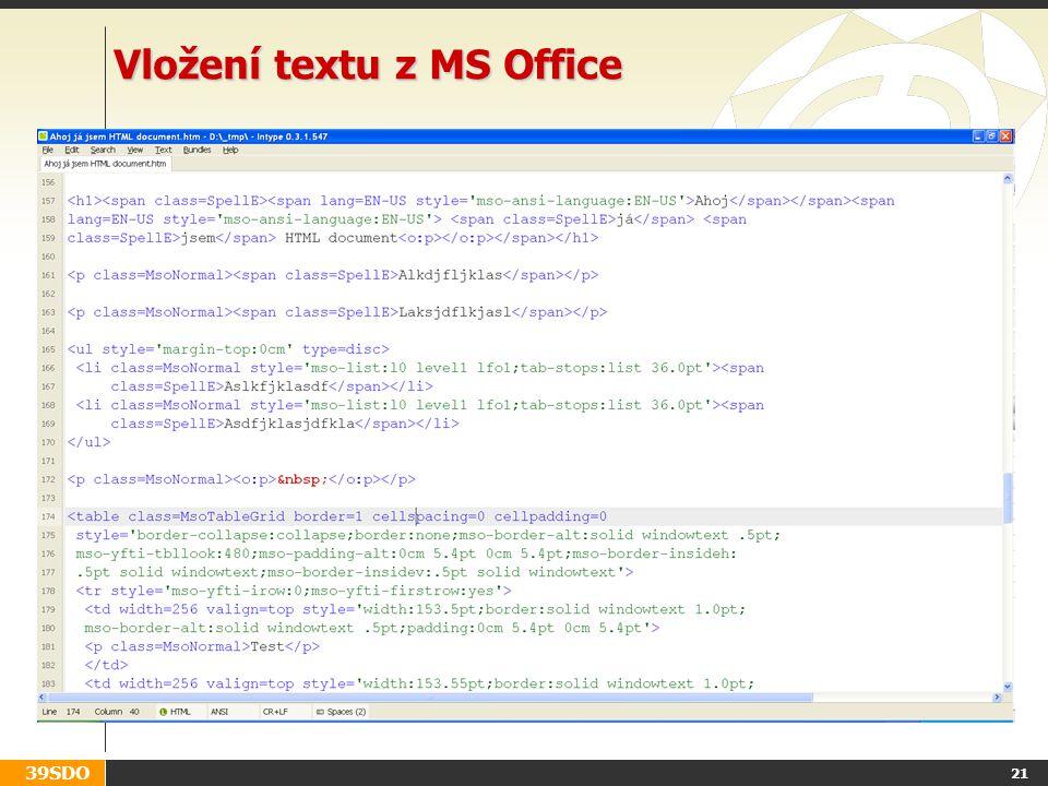 Vložení textu z MS Office
