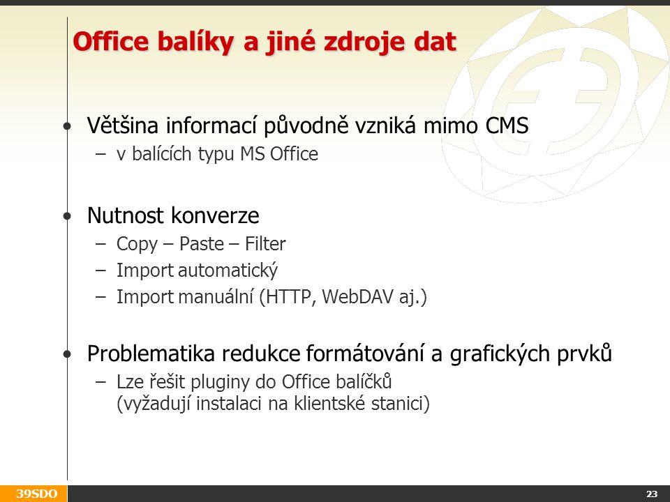Office balíky a jiné zdroje dat