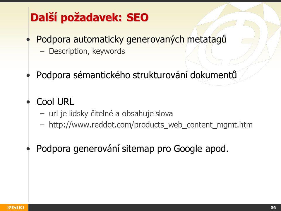 Další požadavek: SEO Podpora automaticky generovaných metatagů