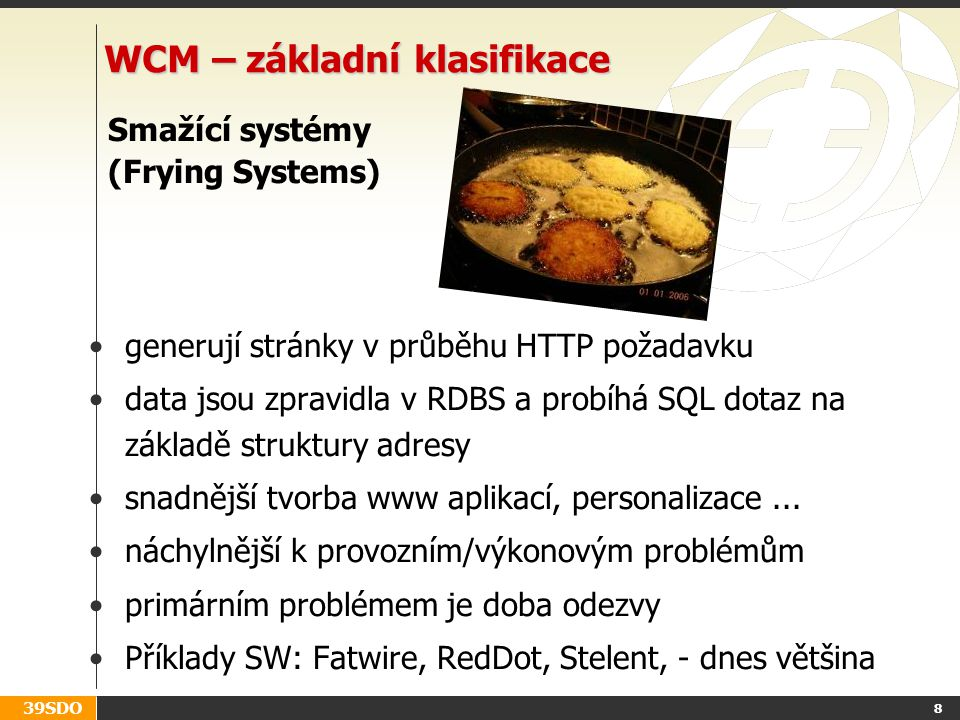 WCM – základní klasifikace