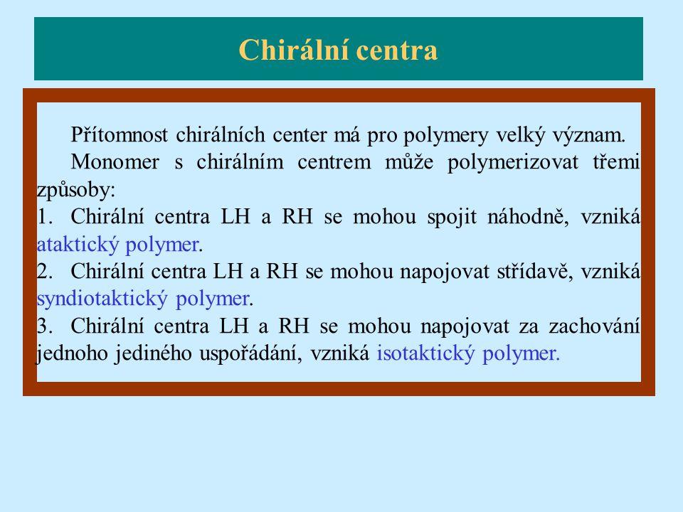 Chirální centra Přítomnost chirálních center má pro polymery velký význam. Monomer s chirálním centrem může polymerizovat třemi způsoby: