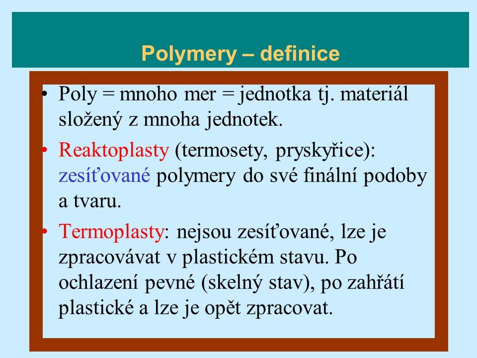 Polymery – definice Poly = mnoho mer = jednotka tj. materiál složený z mnoha jednotek.