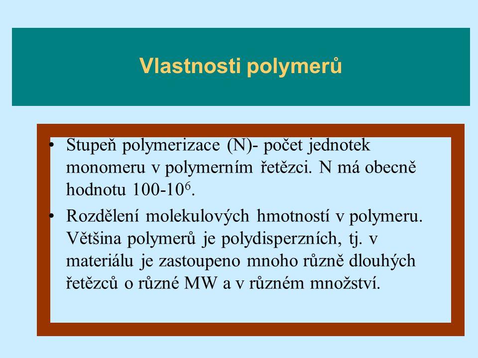 Vlastnosti polymerů Stupeň polymerizace (N)- počet jednotek monomeru v polymerním řetězci. N má obecně hodnotu 100-106.