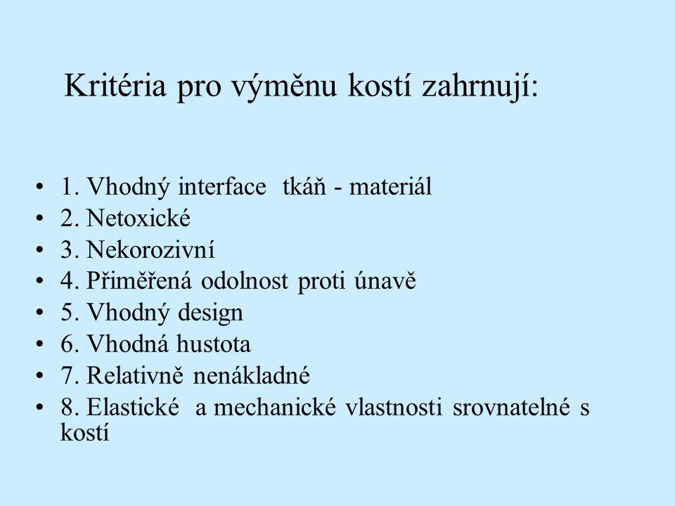 Kritéria pro výměnu kostí zahrnují: