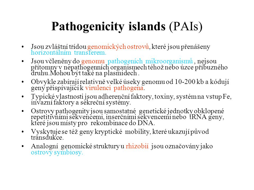 Pathogenicity islands (PAIs)