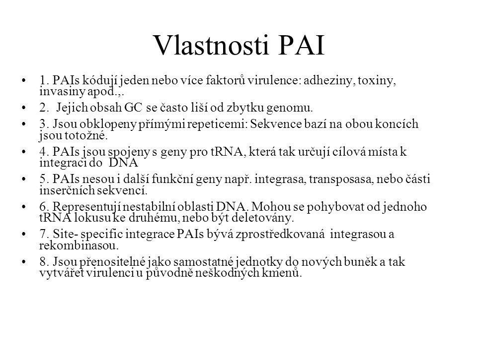 Vlastnosti PAI 1. PAIs kódují jeden nebo více faktorů virulence: adheziny, toxiny, invasiny apod.,.