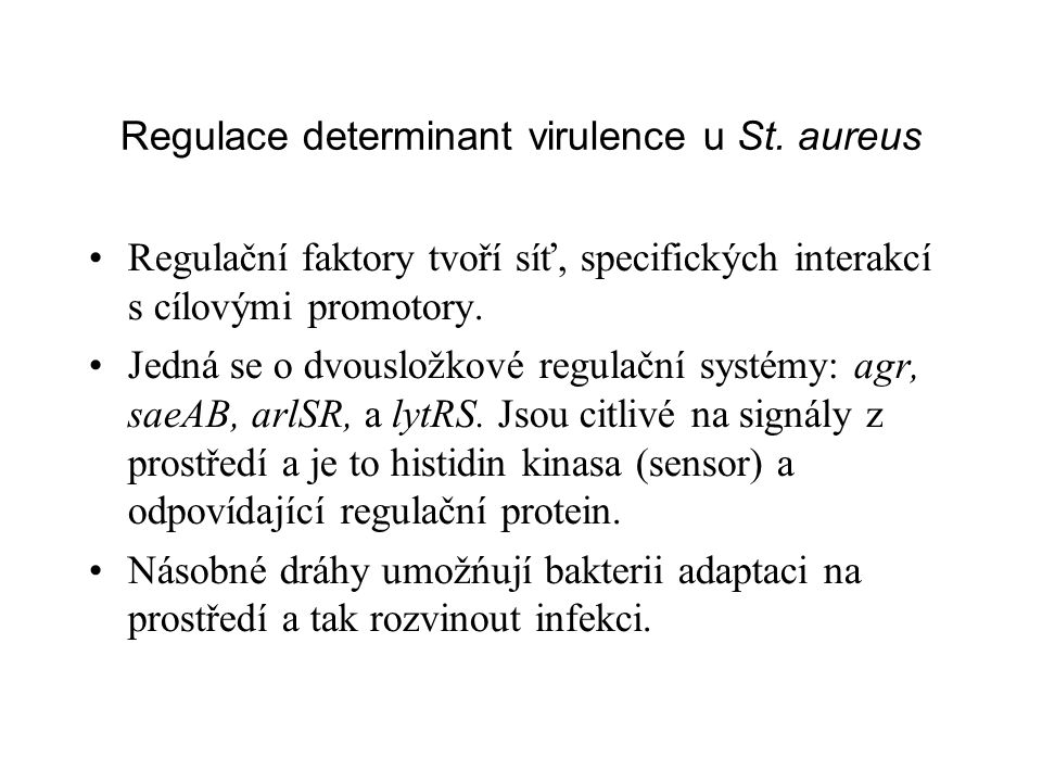 Regulace determinant virulence u St. aureus