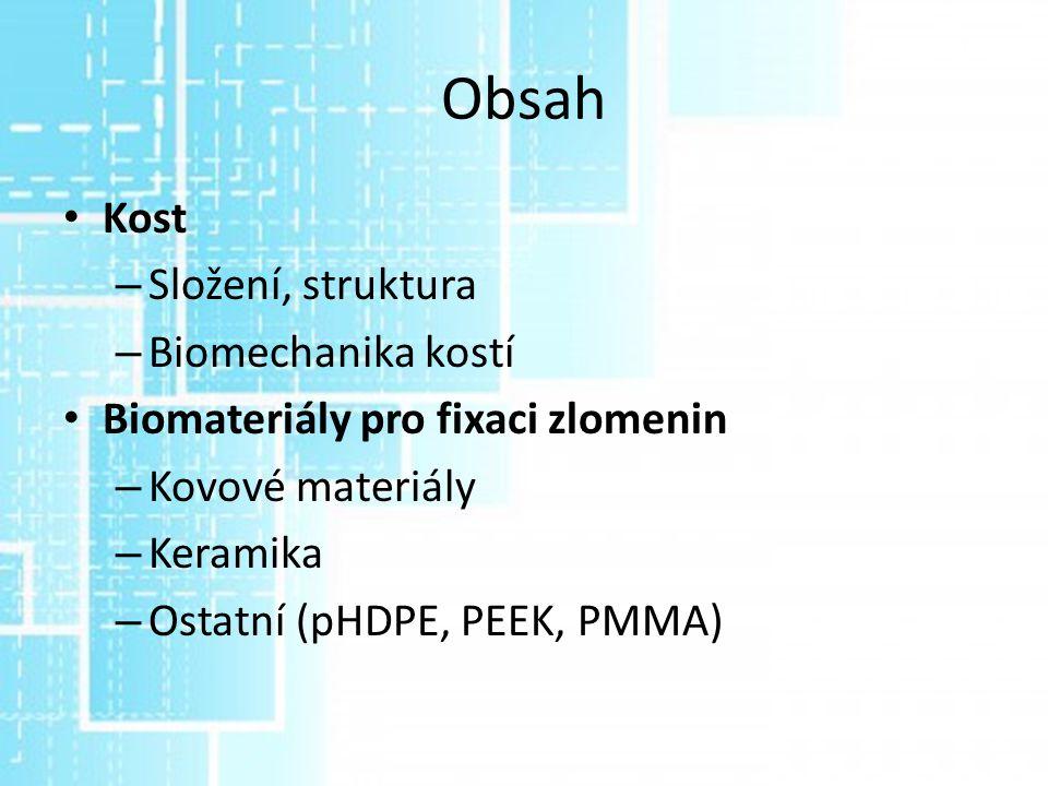 Obsah Kost Složení, struktura Biomechanika kostí