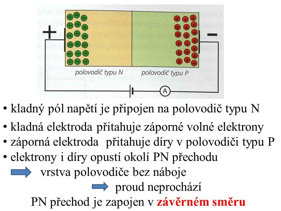 kladný pól napětí je připojen na polovodič typu N