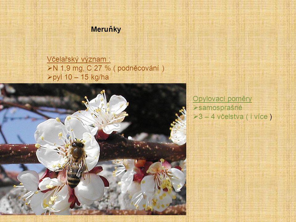 Meruňky Včelařský význam : N 1,9 mg, C 27 % ( podněcování ) pyl 10 – 15 kg/ha. Opylovací poměry.
