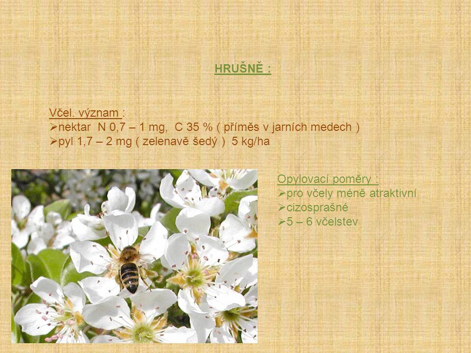 HRUŠNĚ : Včel. význam : nektar N 0,7 – 1 mg, C 35 % ( příměs v jarních medech ) pyl 1,7 – 2 mg ( zelenavě šedý ) 5 kg/ha.