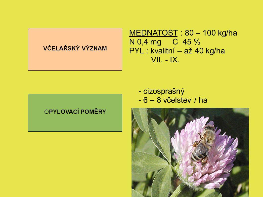 PYL : kvalitní – až 40 kg/ha VII. - IX.