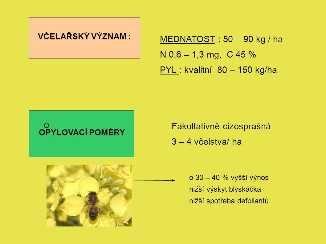 Fakultativně cizosprašná 3 – 4 včelstva/ ha