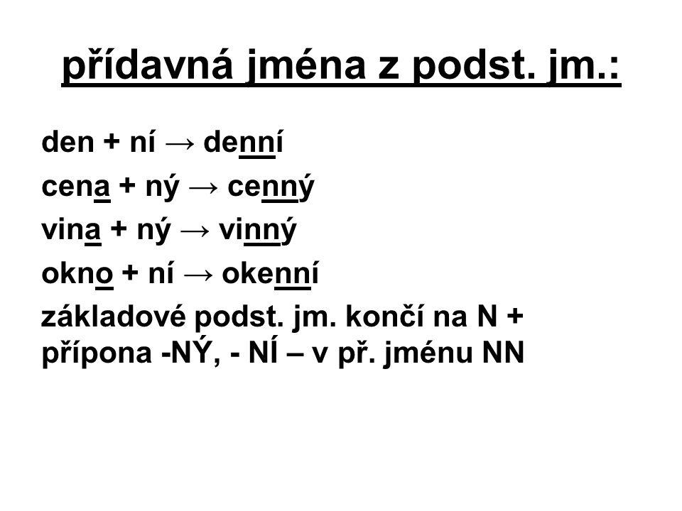 přídavná jména z podst. jm.: