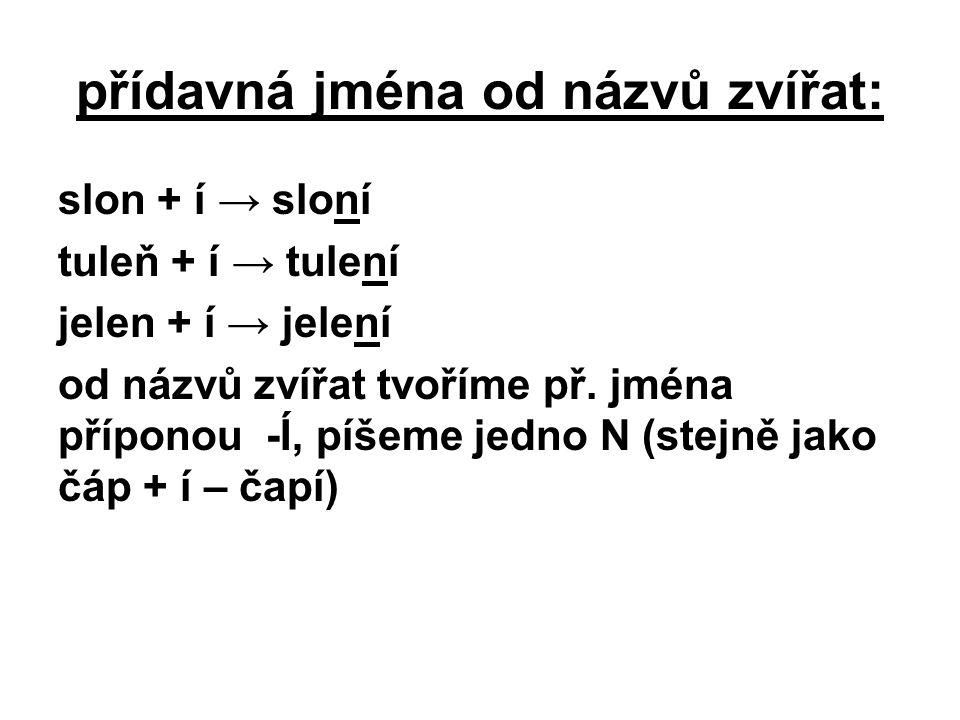 přídavná jména od názvů zvířat: