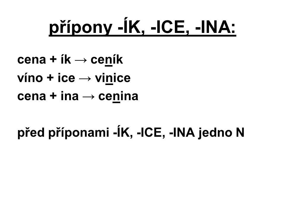 přípony -ÍK, -ICE, -INA: cena + ík → ceník víno + ice → vinice
