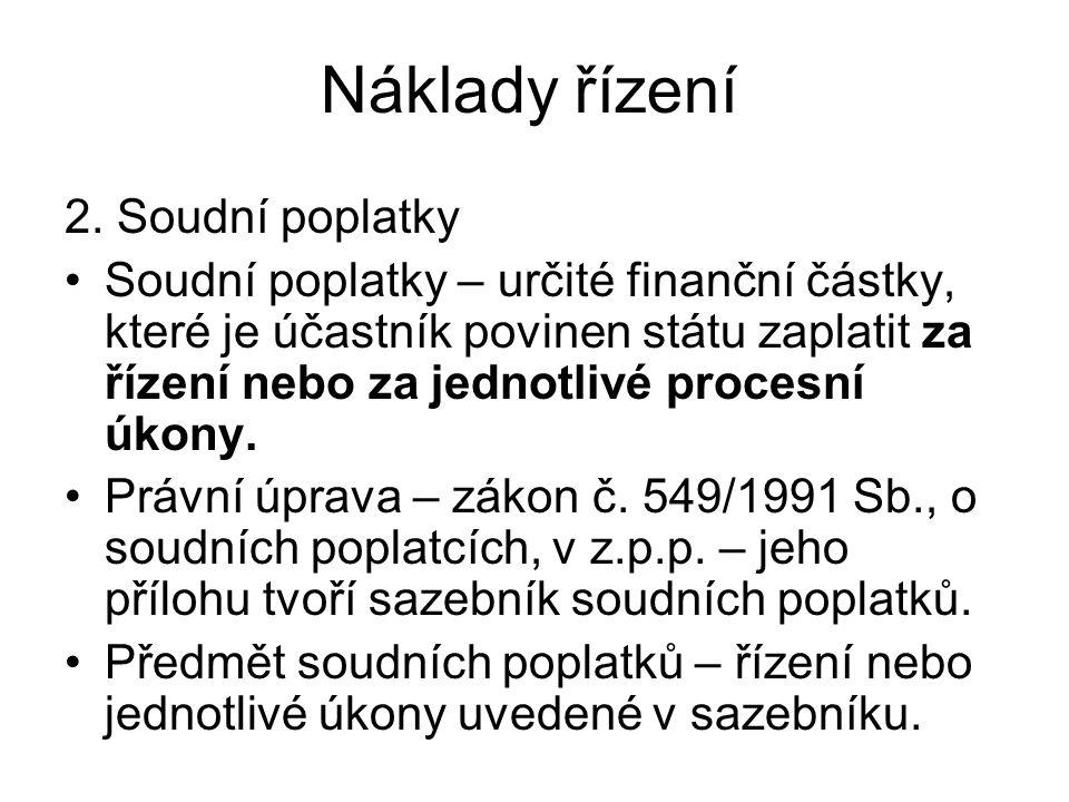 Náklady řízení 2. Soudní poplatky