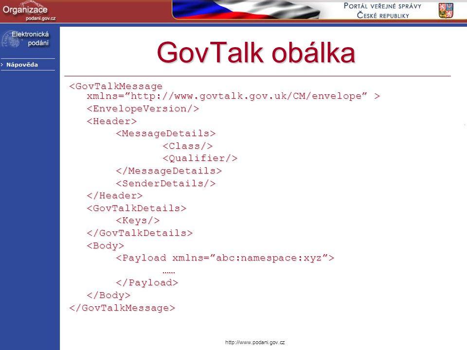 GovTalk obálka <GovTalkMessage xmlns= http://www.govtalk.gov.uk/CM/envelope > <EnvelopeVersion/> <Header>