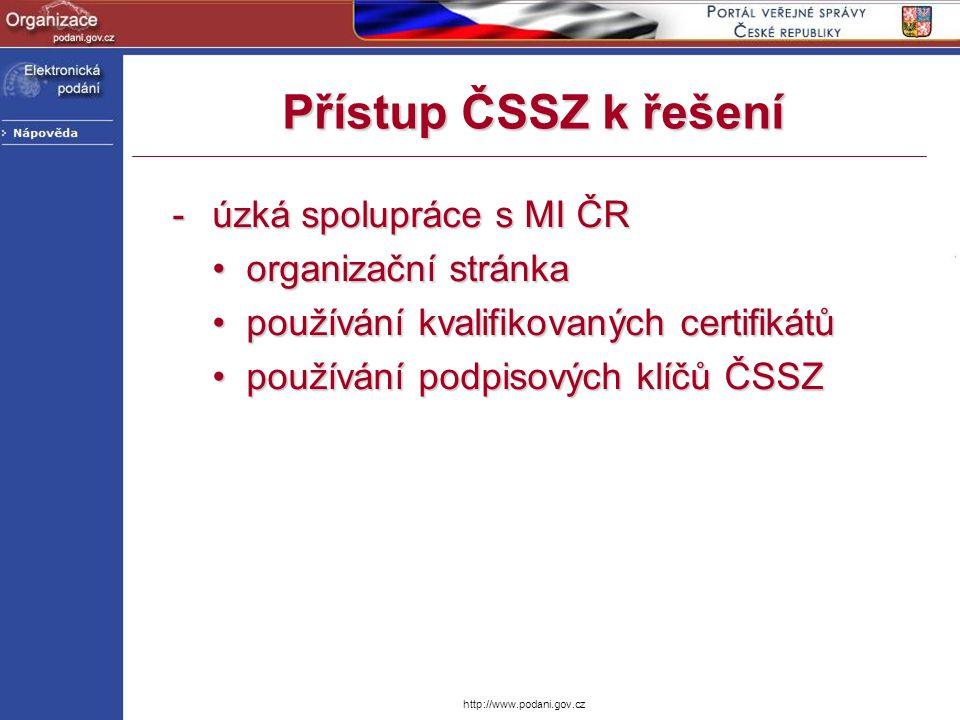 Přístup ČSSZ k řešení úzká spolupráce s MI ČR • organizační stránka