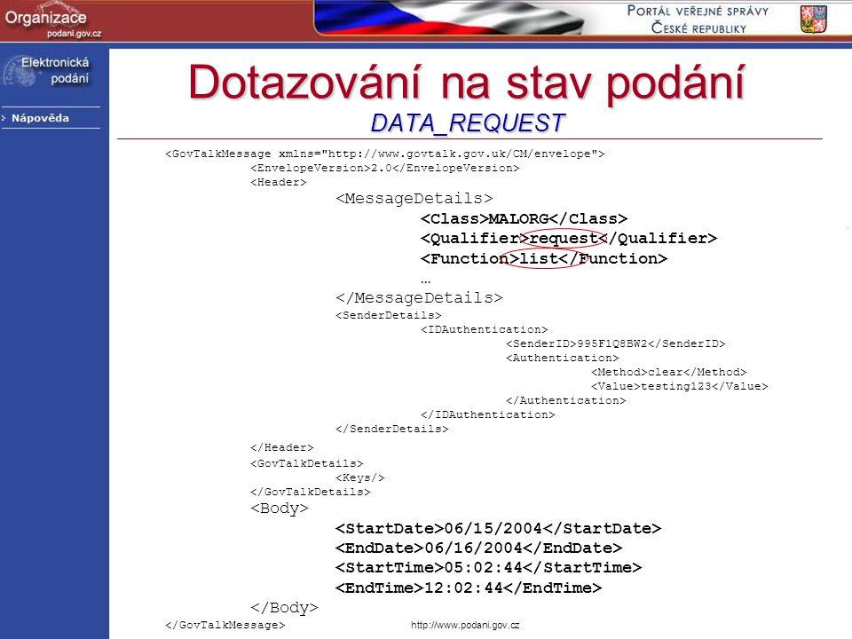 Dotazování na stav podání DATA_REQUEST