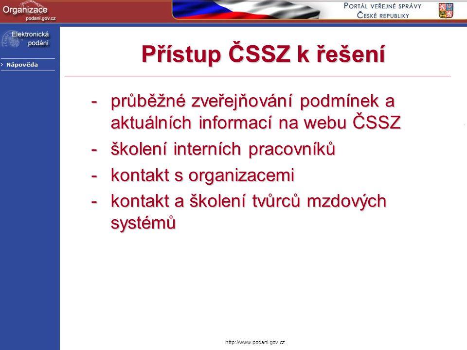 Přístup ČSSZ k řešení průběžné zveřejňování podmínek a aktuálních informací na webu ČSSZ. školení interních pracovníků.