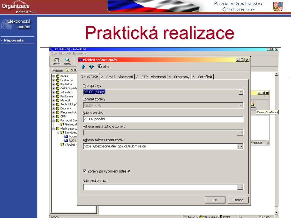 Praktická realizace http://www.podani.gov.cz