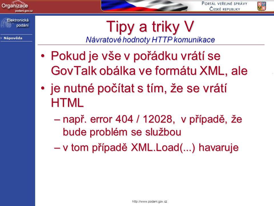 Tipy a triky V Návratové hodnoty HTTP komunikace