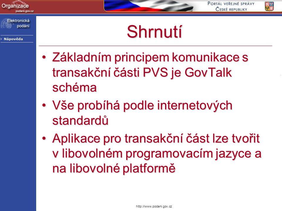 Shrnutí Základním principem komunikace s transakční části PVS je GovTalk schéma. Vše probíhá podle internetových standardů.