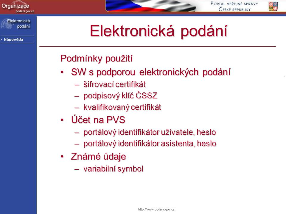 Elektronická podání Podmínky použití