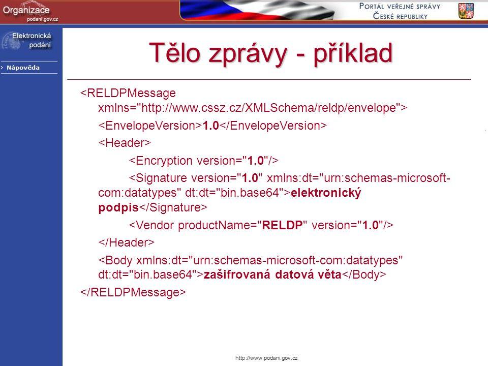 Tělo zprávy - příklad <RELDPMessage xmlns= http://www.cssz.cz/XMLSchema/reldp/envelope > <EnvelopeVersion>1.0</EnvelopeVersion>