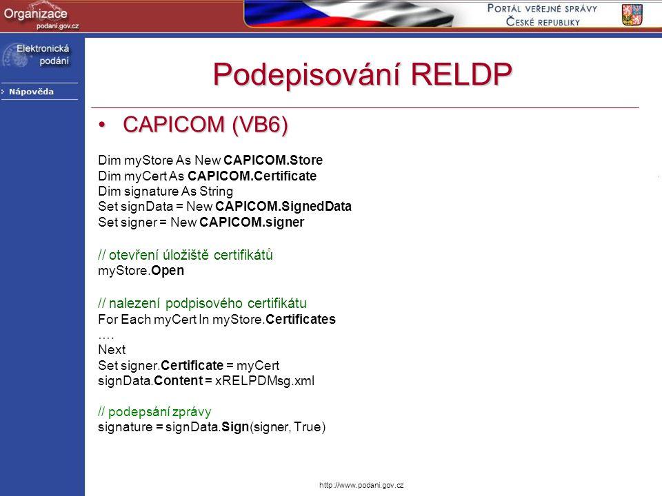 Podepisování RELDP CAPICOM (VB6) // otevření úložiště certifikátů