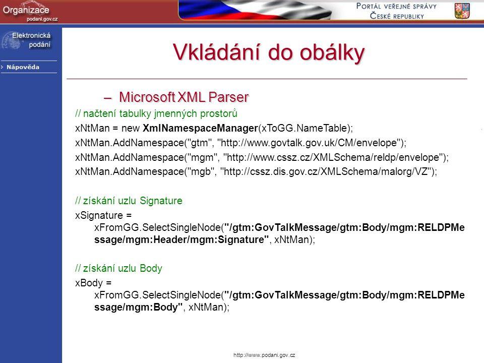 Vkládání do obálky Microsoft XML Parser