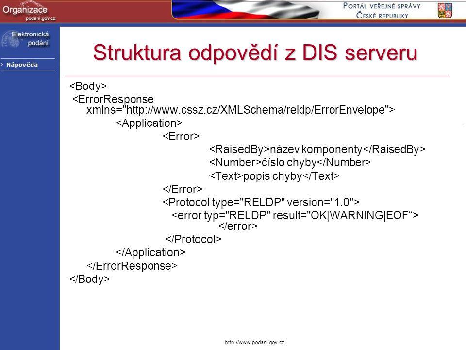 Struktura odpovědí z DIS serveru