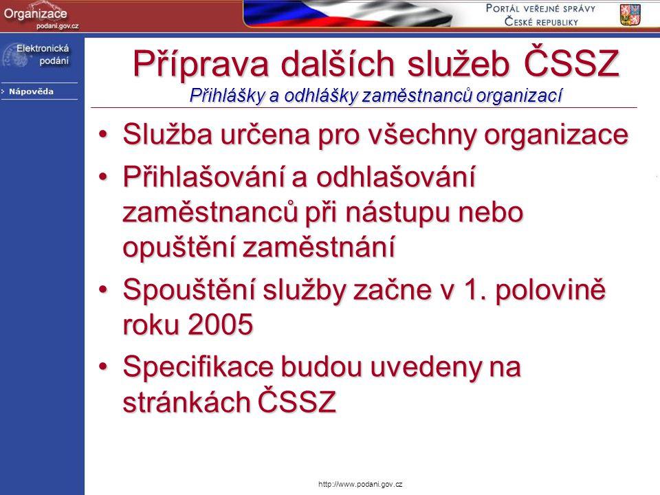 Příprava dalších služeb ČSSZ Přihlášky a odhlášky zaměstnanců organizací
